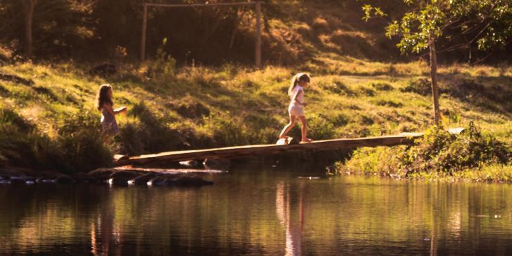 children crossing a bridge on a lake