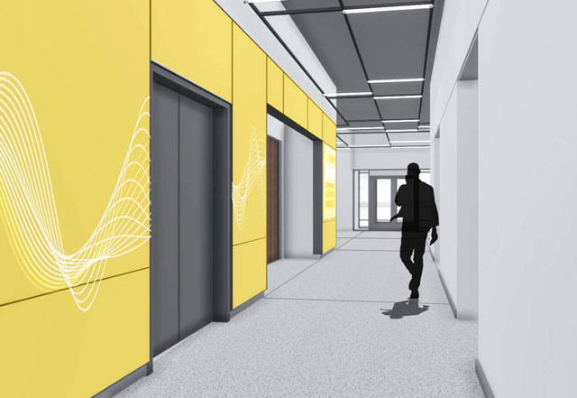 architectural rendering of lobby elevator area in Speech and Hearing Science Building