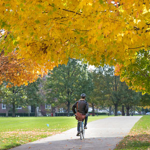 student riding a bicycle in Fall on Illinois campus